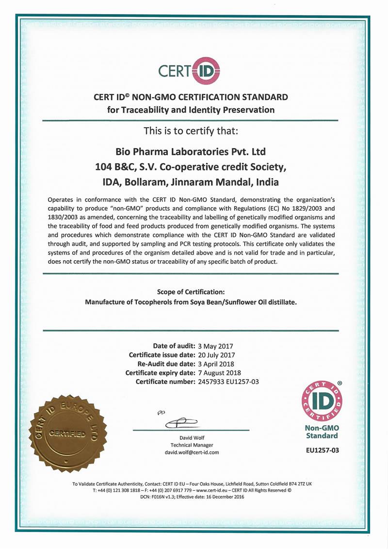 Non GMO Certificate 2018