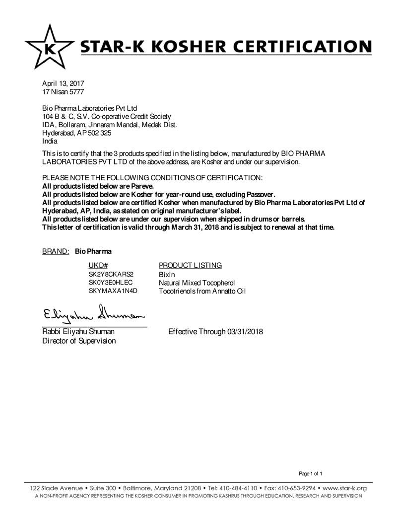 Kosher Certificate 2018